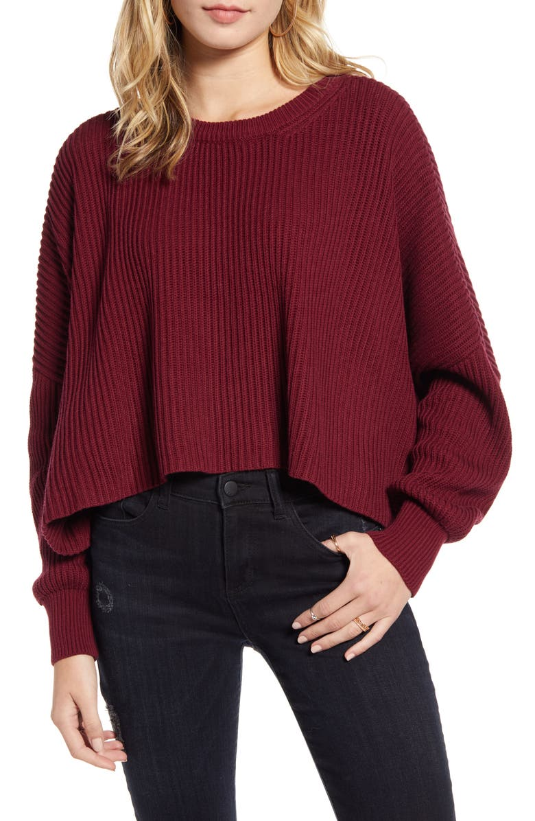 LIRA CLOTHING Sahara Crop Sweater, Main, color, WINE