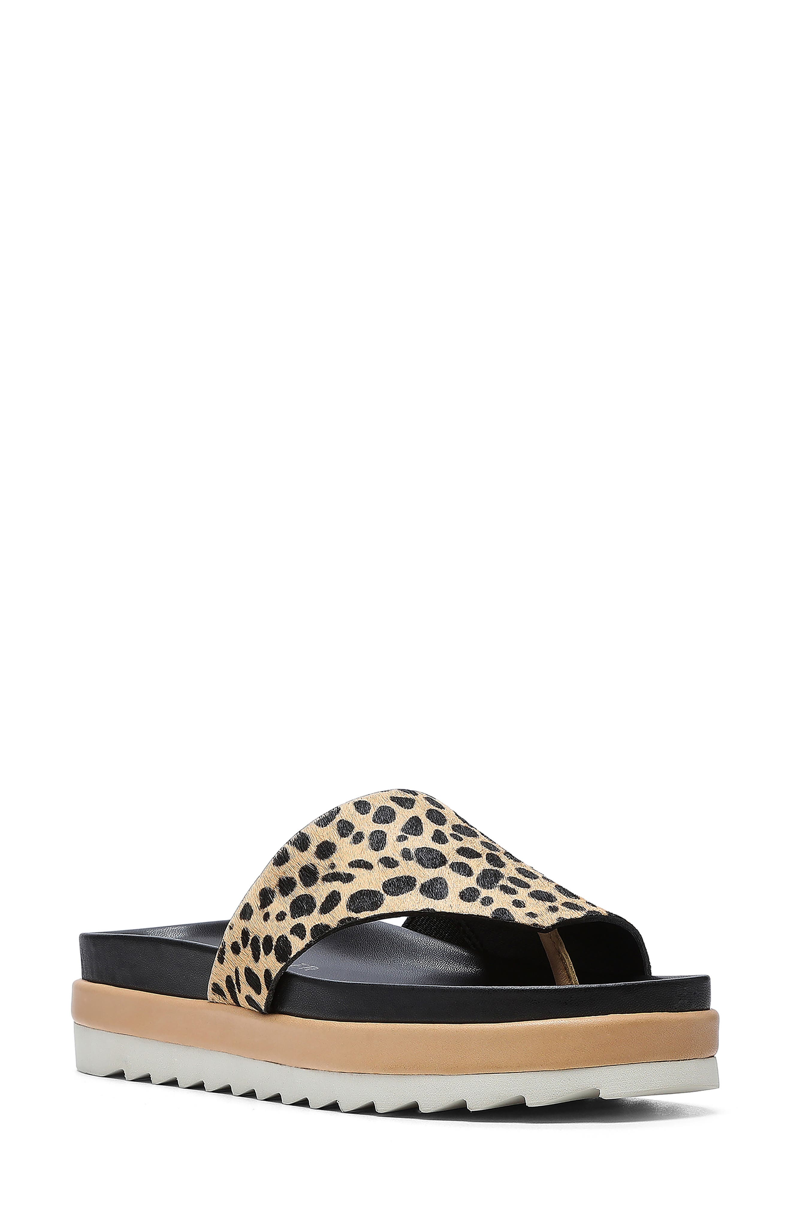 Lylaa Genuine Calf Hair Platform Thong Slide Sandal