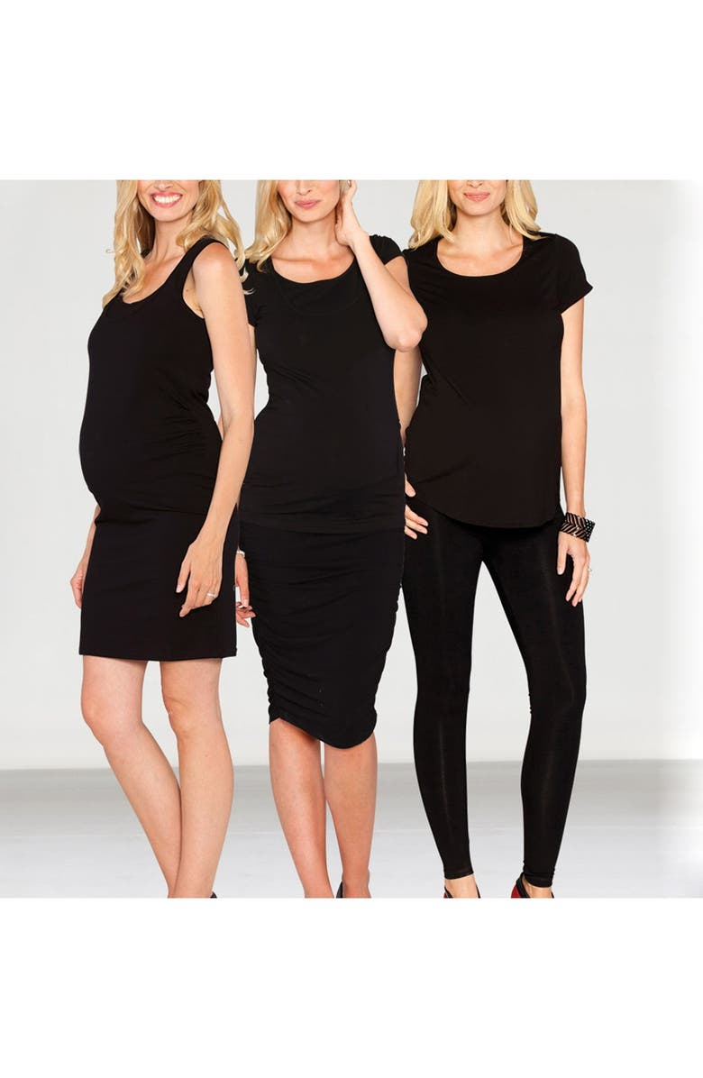 ANGEL MATERNITY The Bumper Essential 4-Piece Maternity Starter Kit, Main, color, BLACK