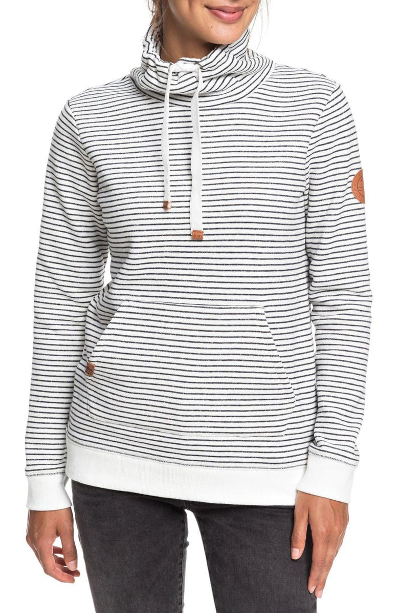 ROXY Worlds Away Funnel Neck Sweatshirt, Main, color, ANTHRACITE MARINA STRIPES