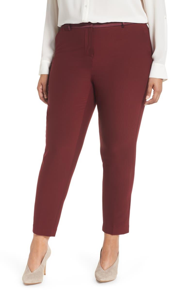 SEJOUR Satin Trim Ankle Pants, Main, color, 601