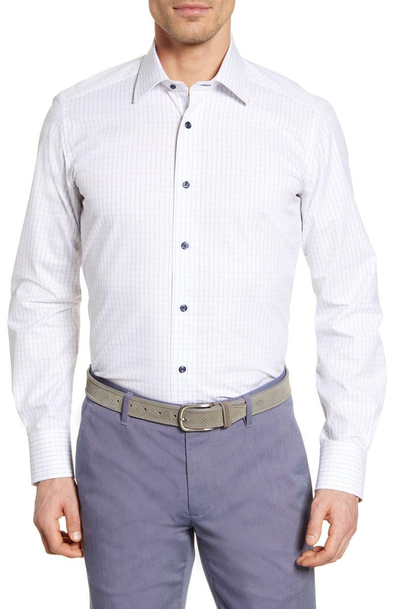 DAVID DONAHUE Trim Fit Check Dress Shirt, Main, color, WHITE/ NAVY