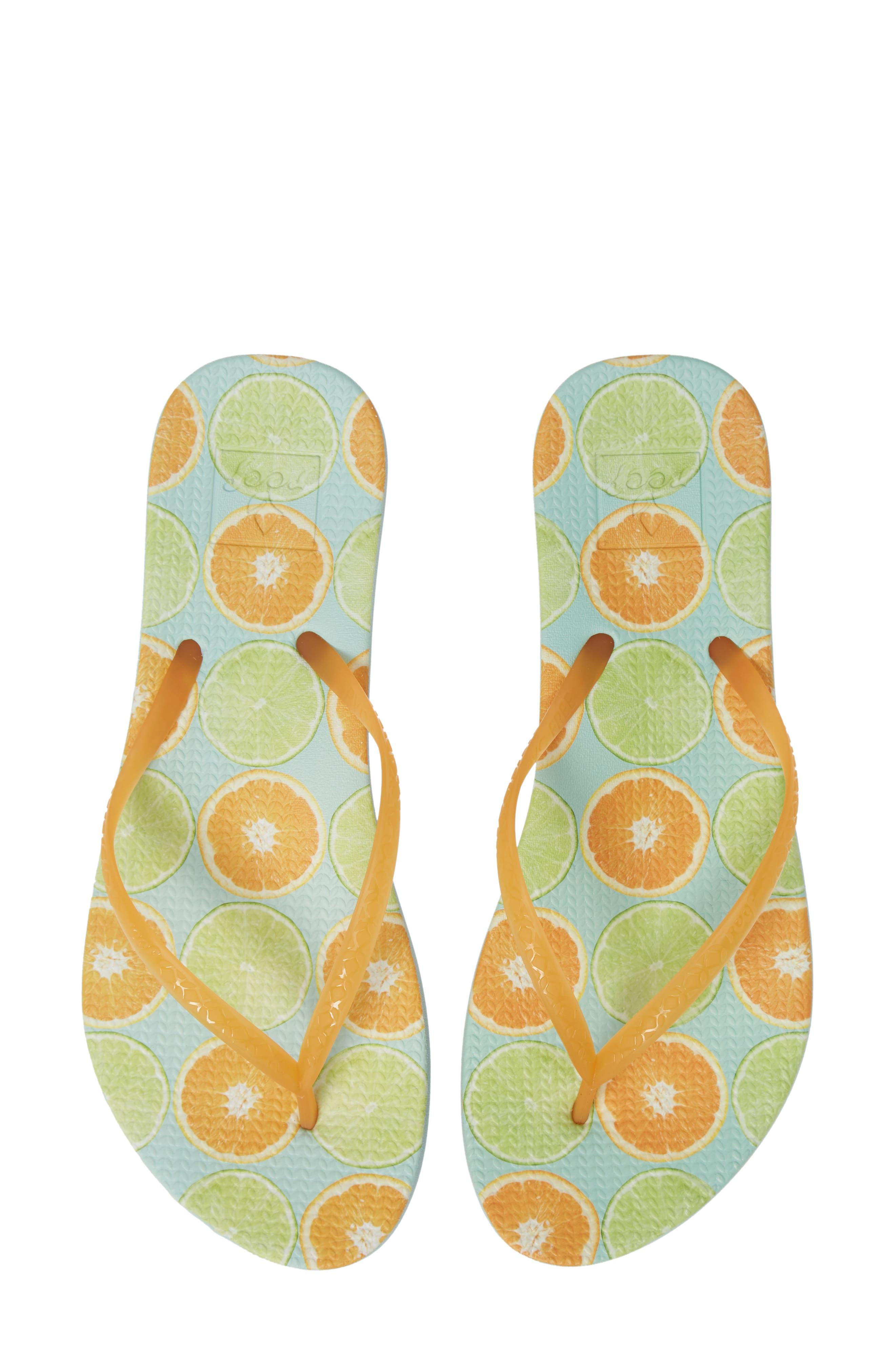 Reef Escape Lux Print Flip Flop, Orange