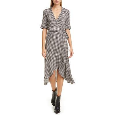 Ganni Gingham Print Midi Wrap Dress, Black