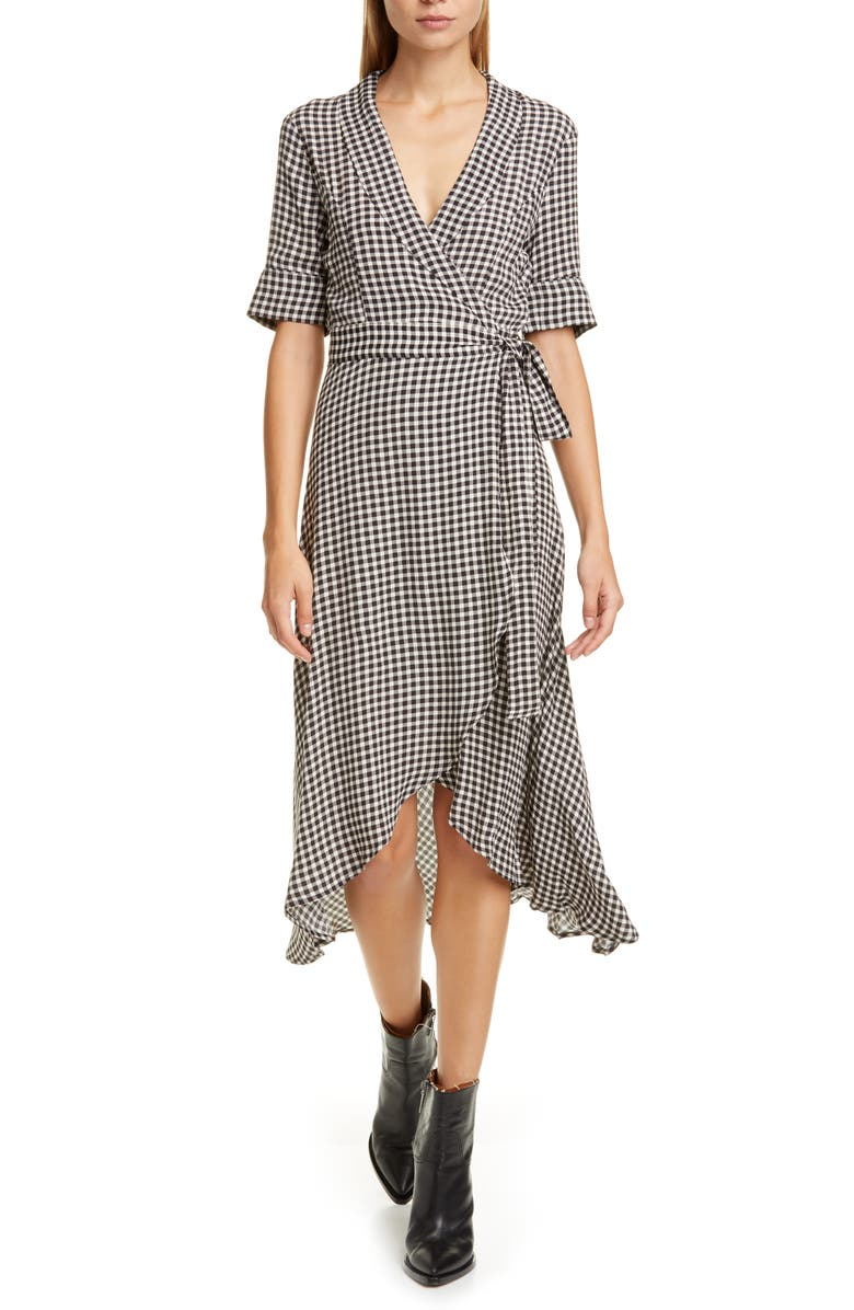 GANNI Gingham Print Midi Wrap Dress, Main, color, BLACK 099