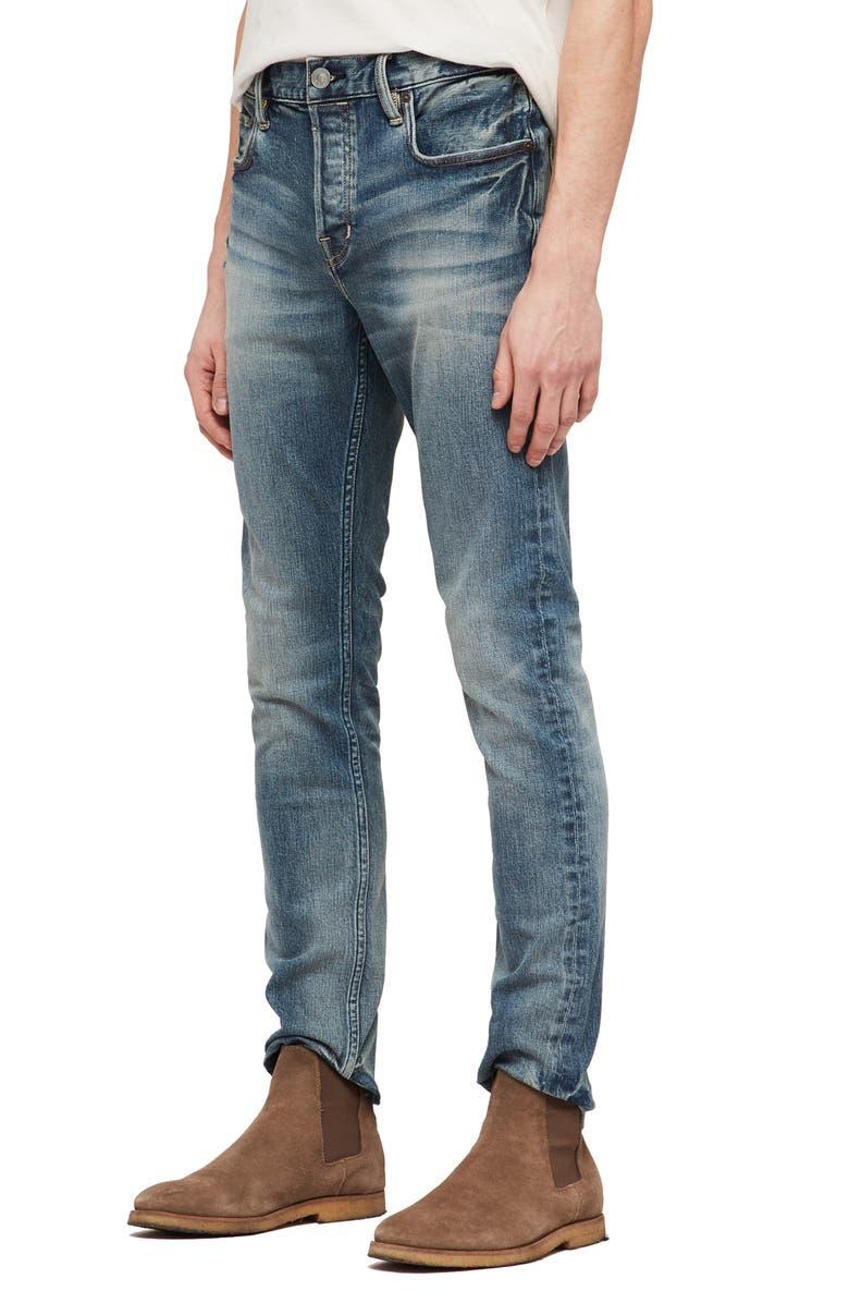 ALLSAINTS Cigarette Skinny Fit Jeans, Main, color, MID INDIGO