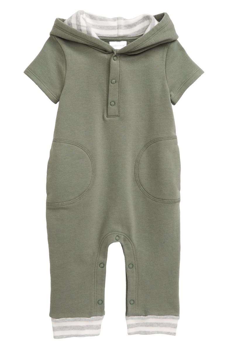NORDSTROM BABY Hooded Romper, Main, color, GREEN AGAVE
