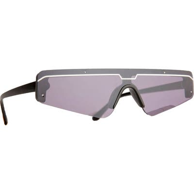 Rad + Refined Cyberfunk Sport Flat Top Shield Sunglasses - Grey/ Purple Lens