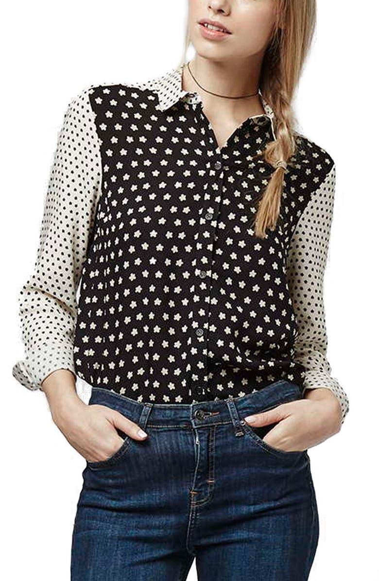 TOPSHOP Ditsy Star Print Shirt, Main, color, 900
