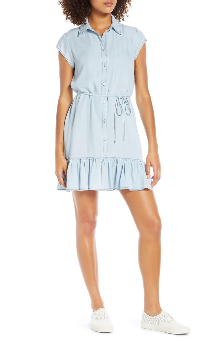 BB DAKOTA Sway Chambray Shirtdress, Main, color, CHAMBRAY