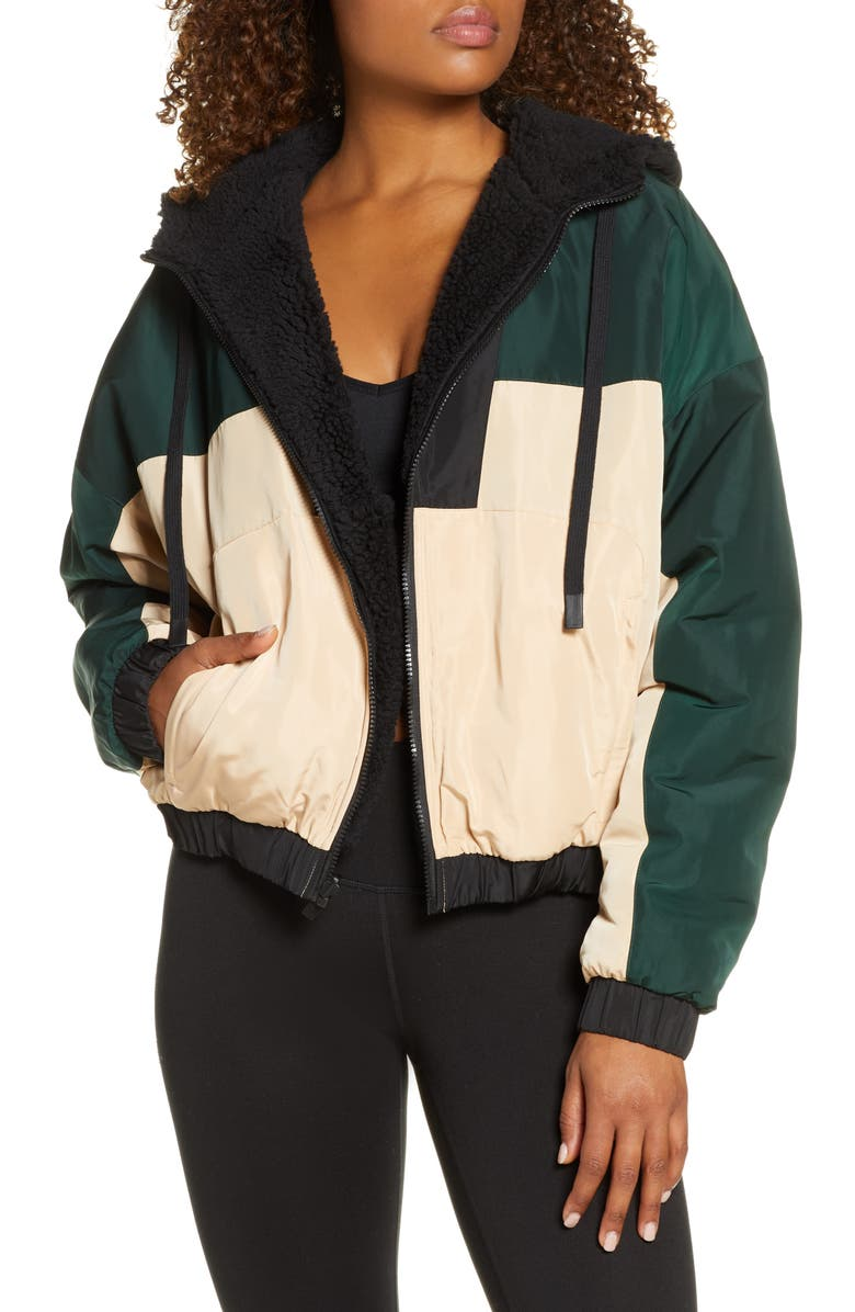 ALO Duality Reversible Faux Shearling Jacket, Main, color, BLACK/ PUTTY/ FOREST