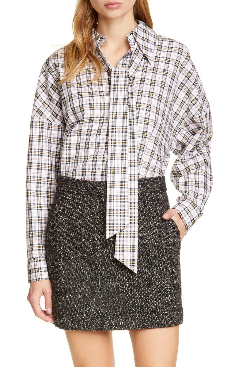 TIBI Kingston Easy Plaid Shirt, Main, color, WHITE MULTI