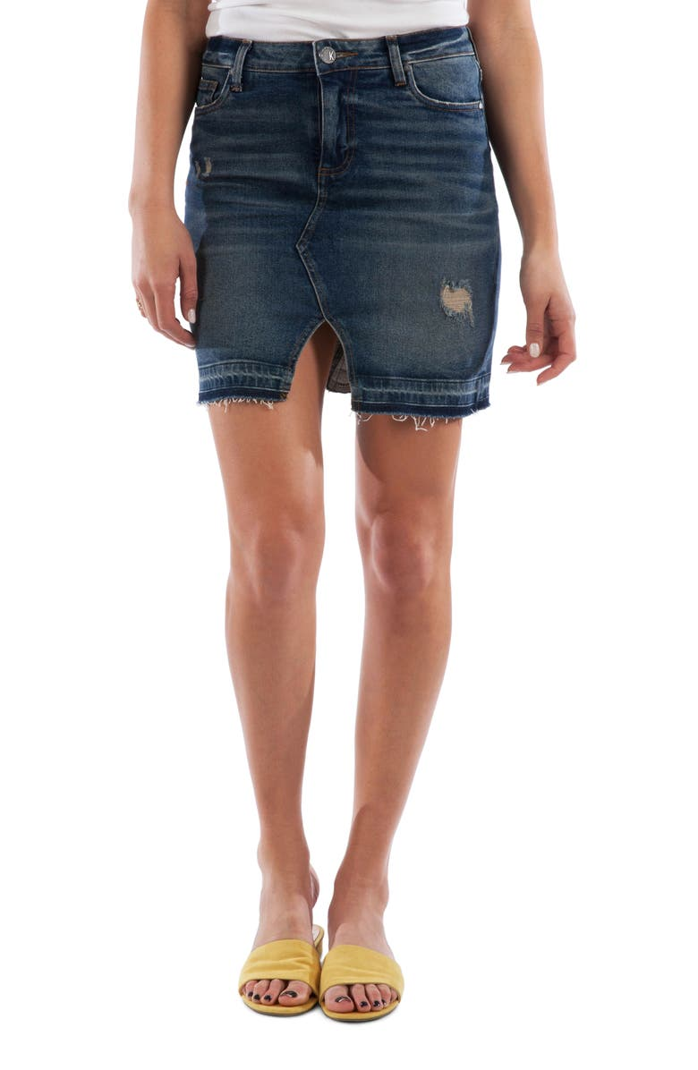 KUT FROM THE KLOTH Hannah Distressed Denim Skirt, Main, color, UNFOLD