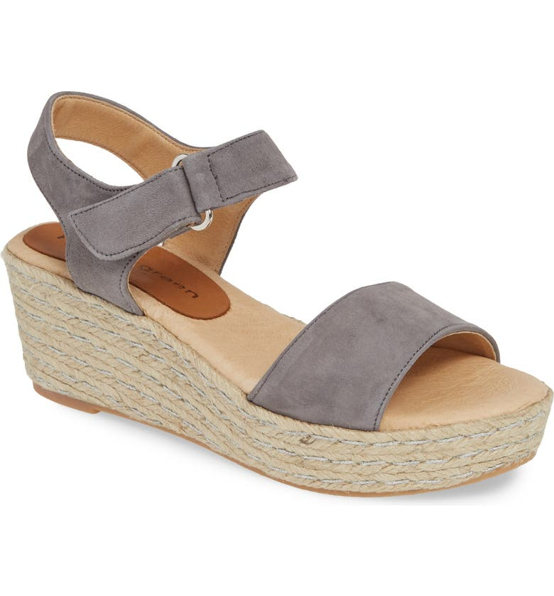 PATRICIA GREEN Corie Espadrille Wedge Sandal, Main, color, CHARCOAL LAMB SUEDE