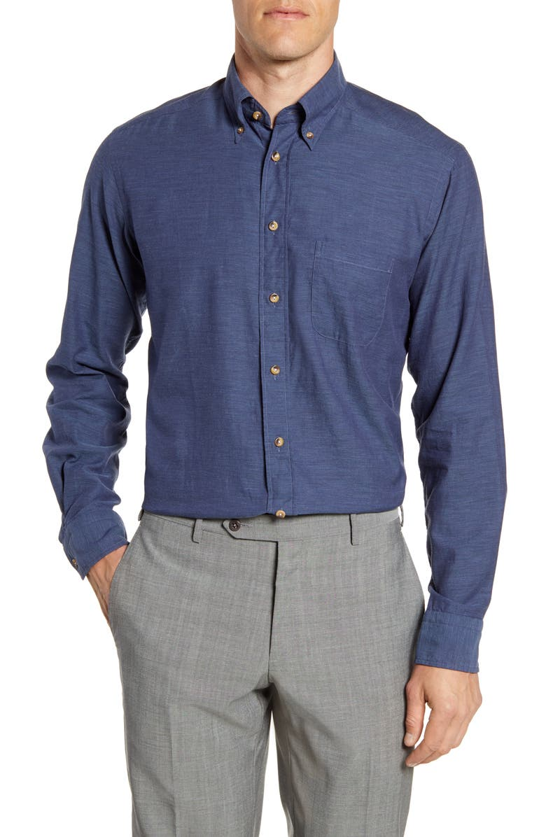 ETON Flanella Contemporary Fit Solid Dress Shirt, Main, color, BLUE