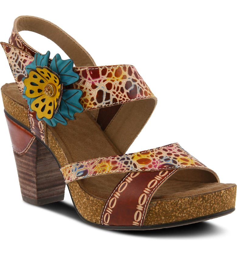 L'ARTISTE Veneka Sandal, Main, color, BROWN MULTI LEATHER