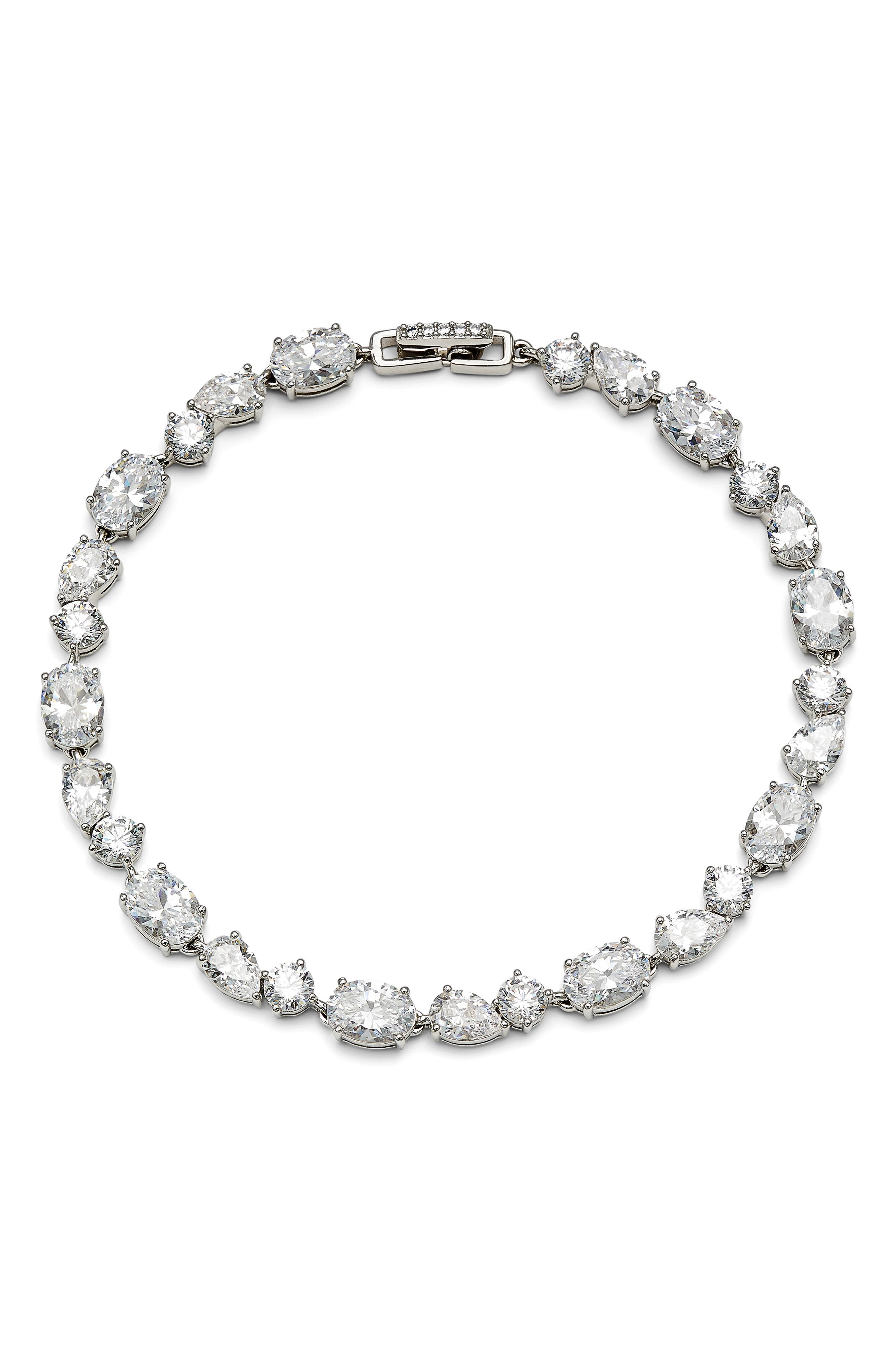 A mix of twinkling shapes enlivens this hand-polished cubic zirconia line bracelet that adds a delightful dash of sparkle to your day-to-night looks. Style Name: Nadri Chloe Cubic Zirconia Line Bracelet. Style Number: 6106111. Available in stores.