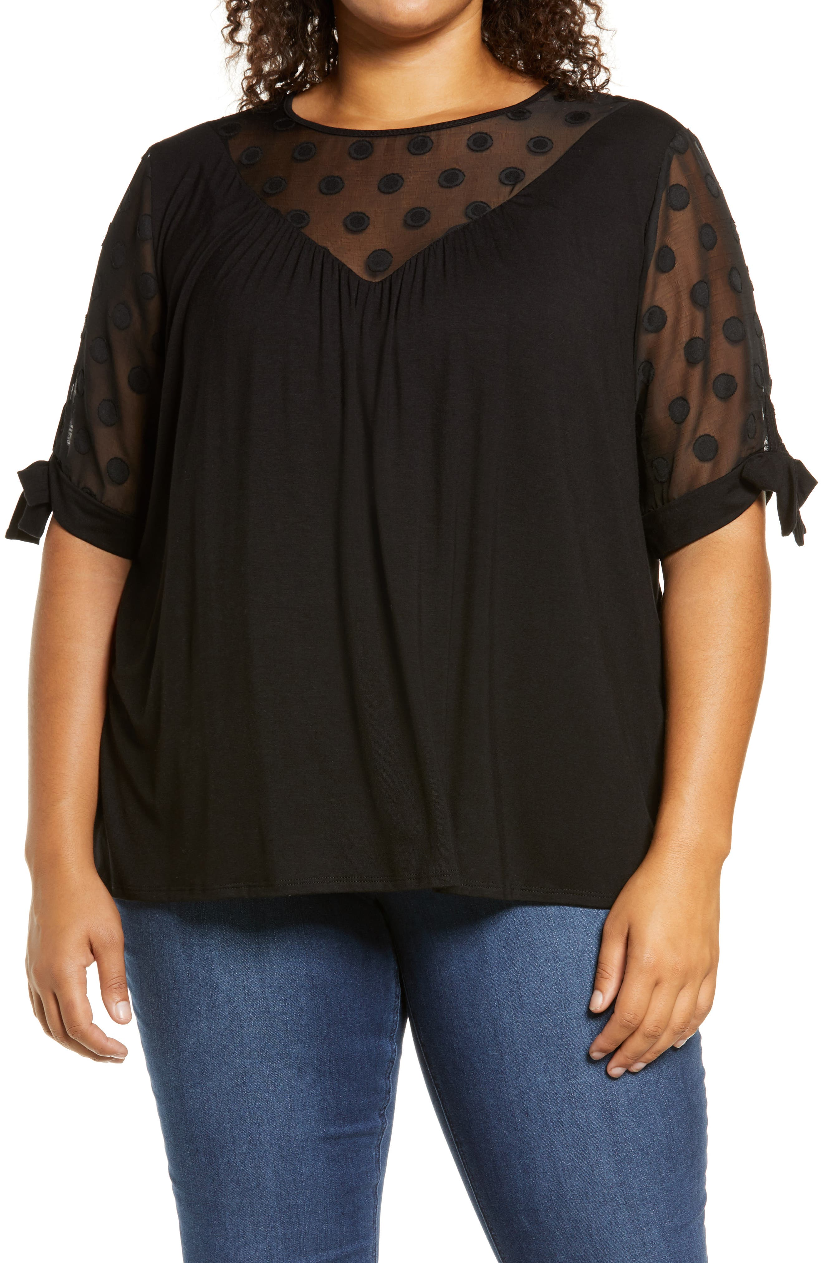 As comfy as your favorite tee but elevated by special details, this top has a sheer, polka dot yoke and sleeves, a draped bodice and delicate bow ties. Style Name: Loveappella Dot Chiffon Top (Plus Size). Style Number: 6142439. Available in stores.