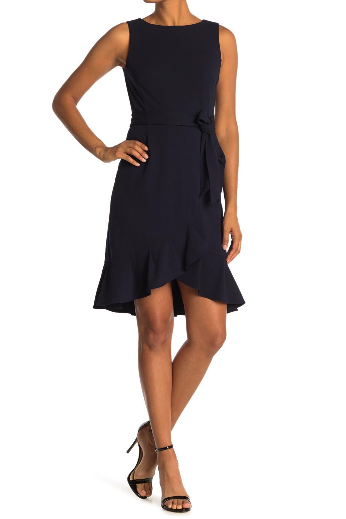 Image of Calvin Klein Sleeveless Ruffled Tie Waist Dress