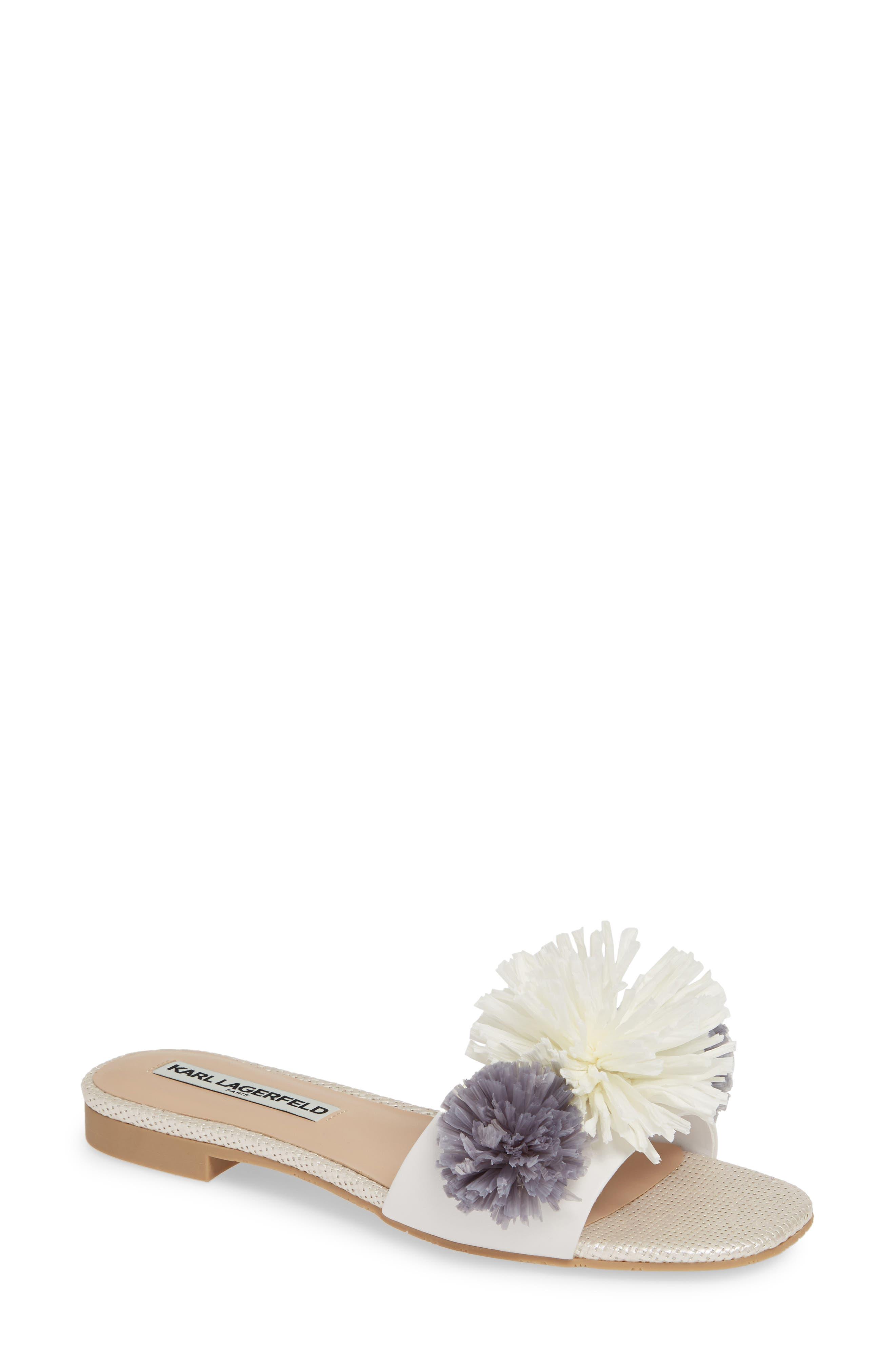 Karl Lagerfeld Paris Rainey Slide Sandal- White
