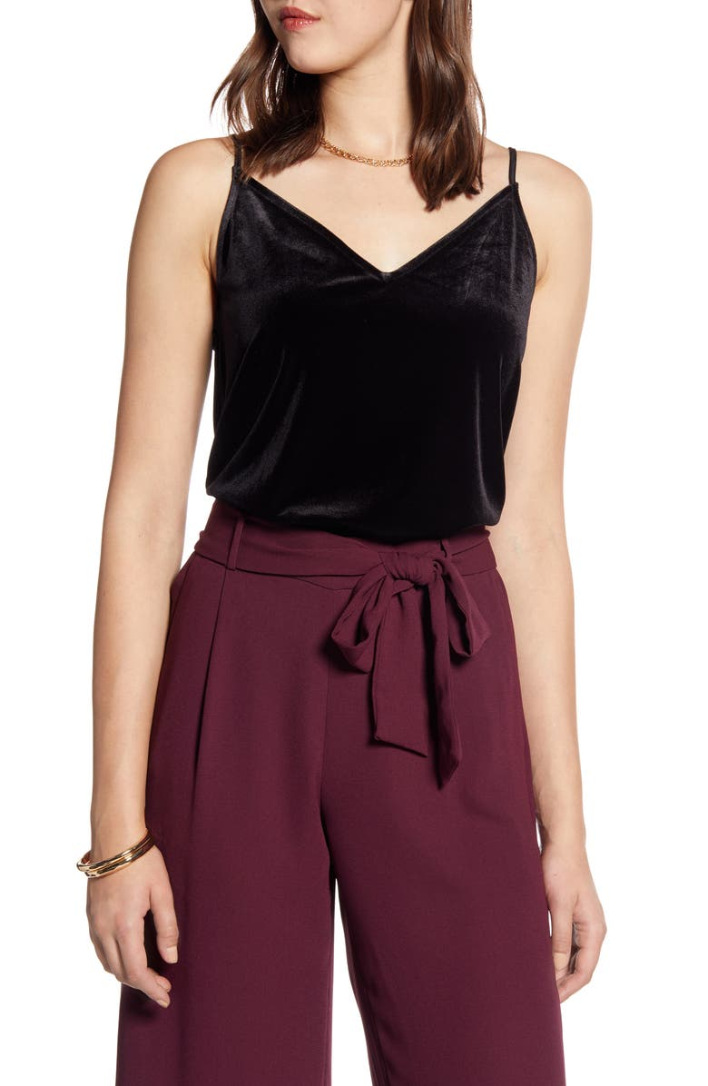 HALOGEN<SUP>®</SUP> Velvet Camisole, Main, color, BLACK