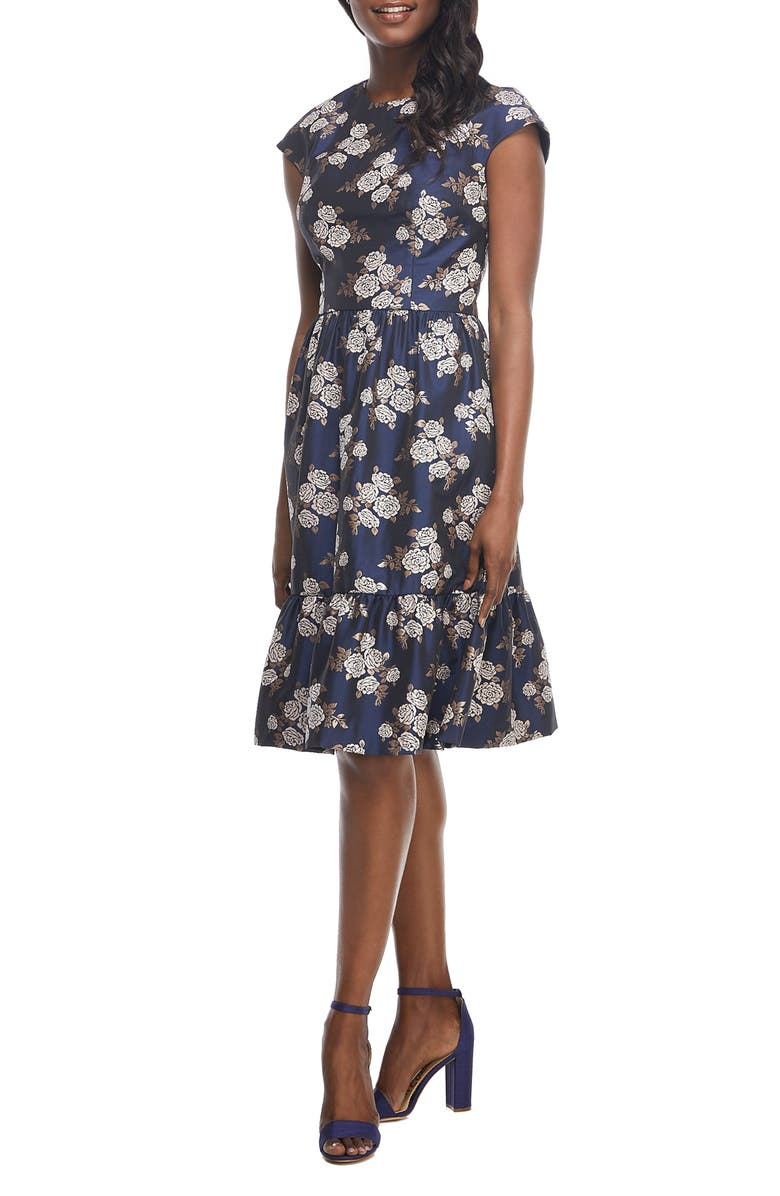 GAL MEETS GLAM COLLECTION Jenny Wallpaper Rose Jacquard Fit & Flare Dress, Main, color, 462