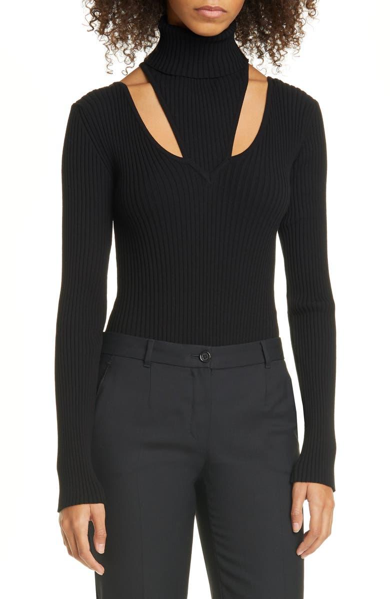 BEAUFILLE Rib Cutout Turtleneck Bodysuit, Main, color, BLACK