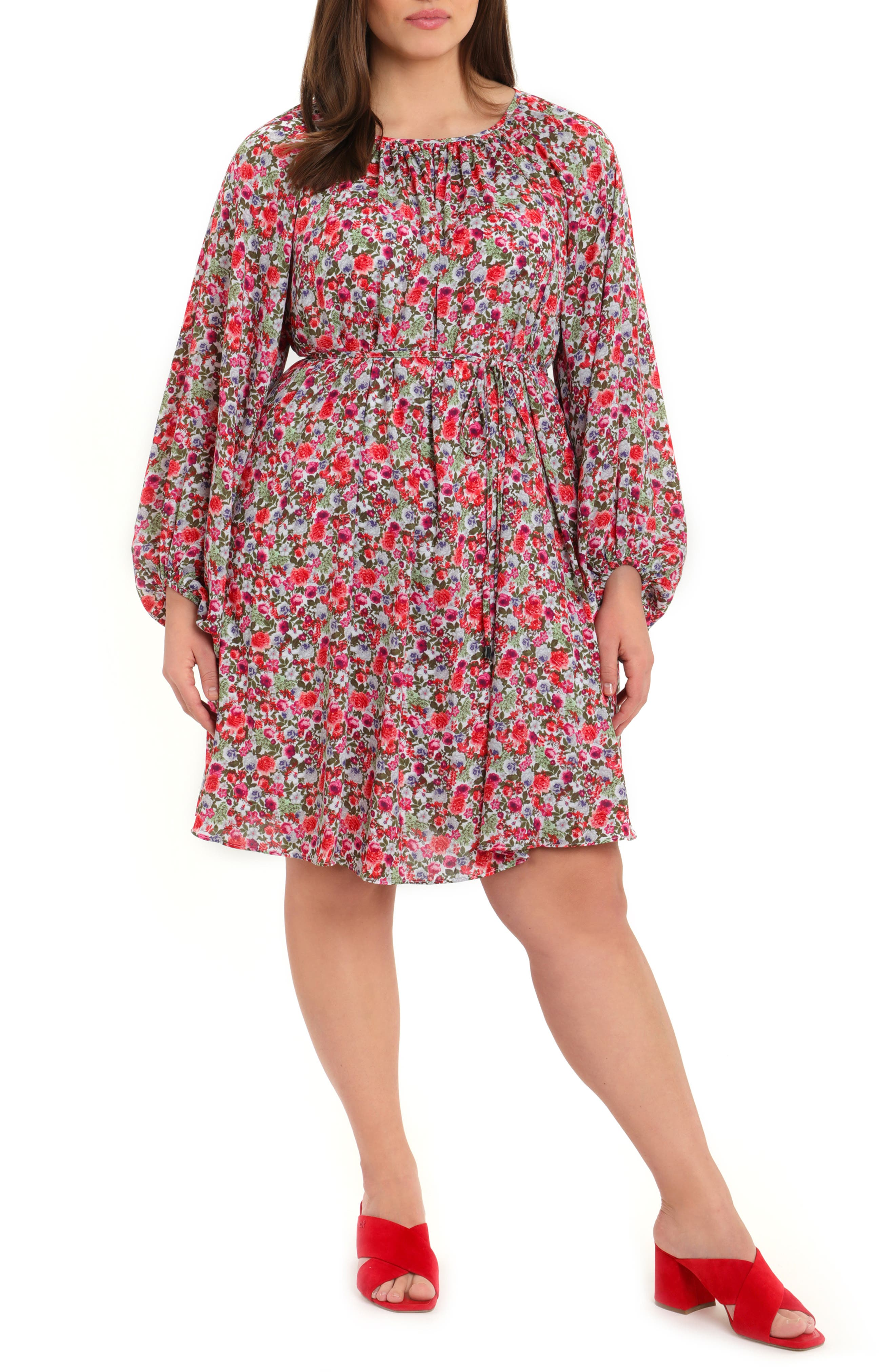 Floral Long Sleeve Crepe Georgette Shift Dress