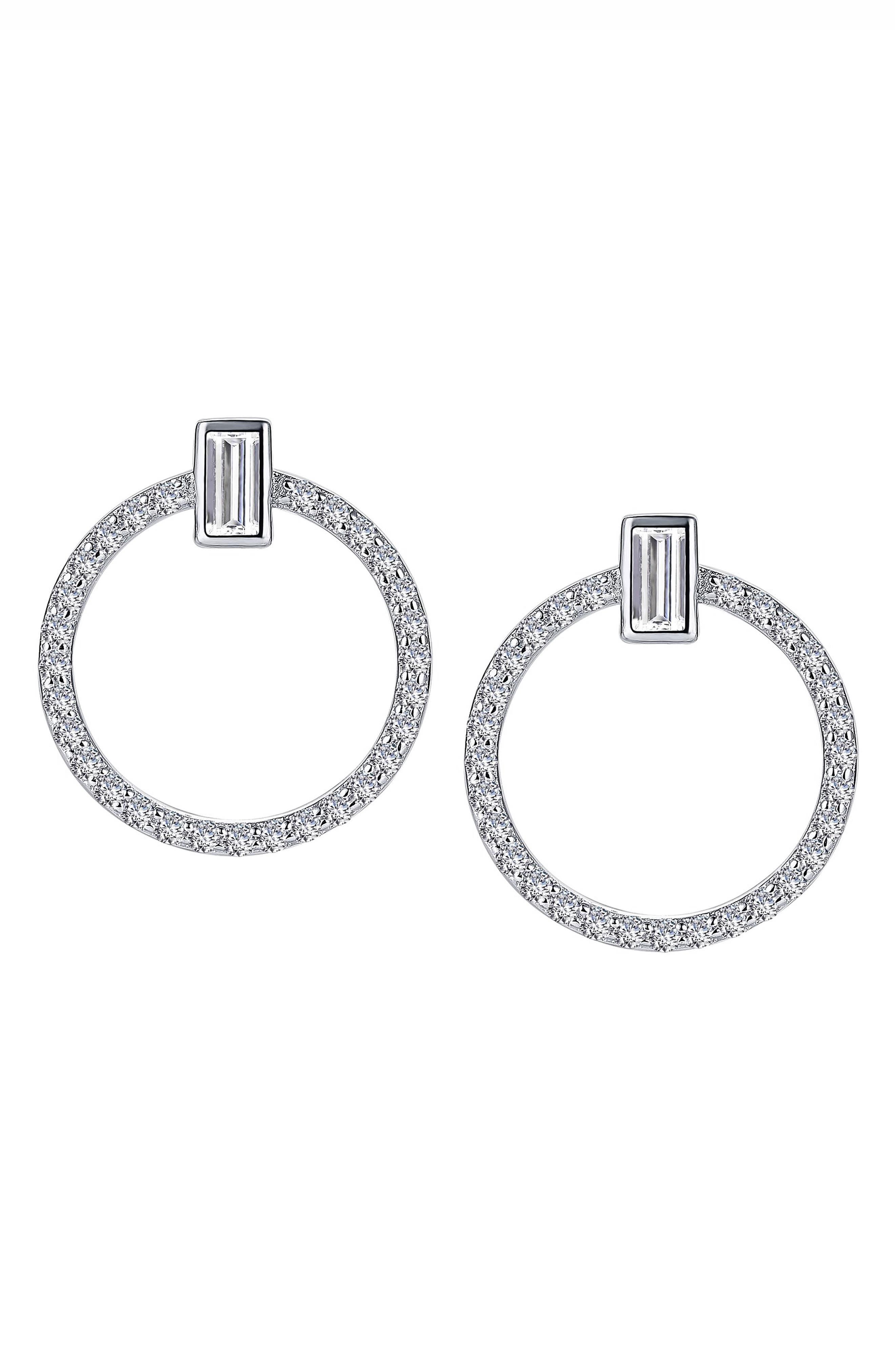 Open Circle Simulated Diamond Earrings