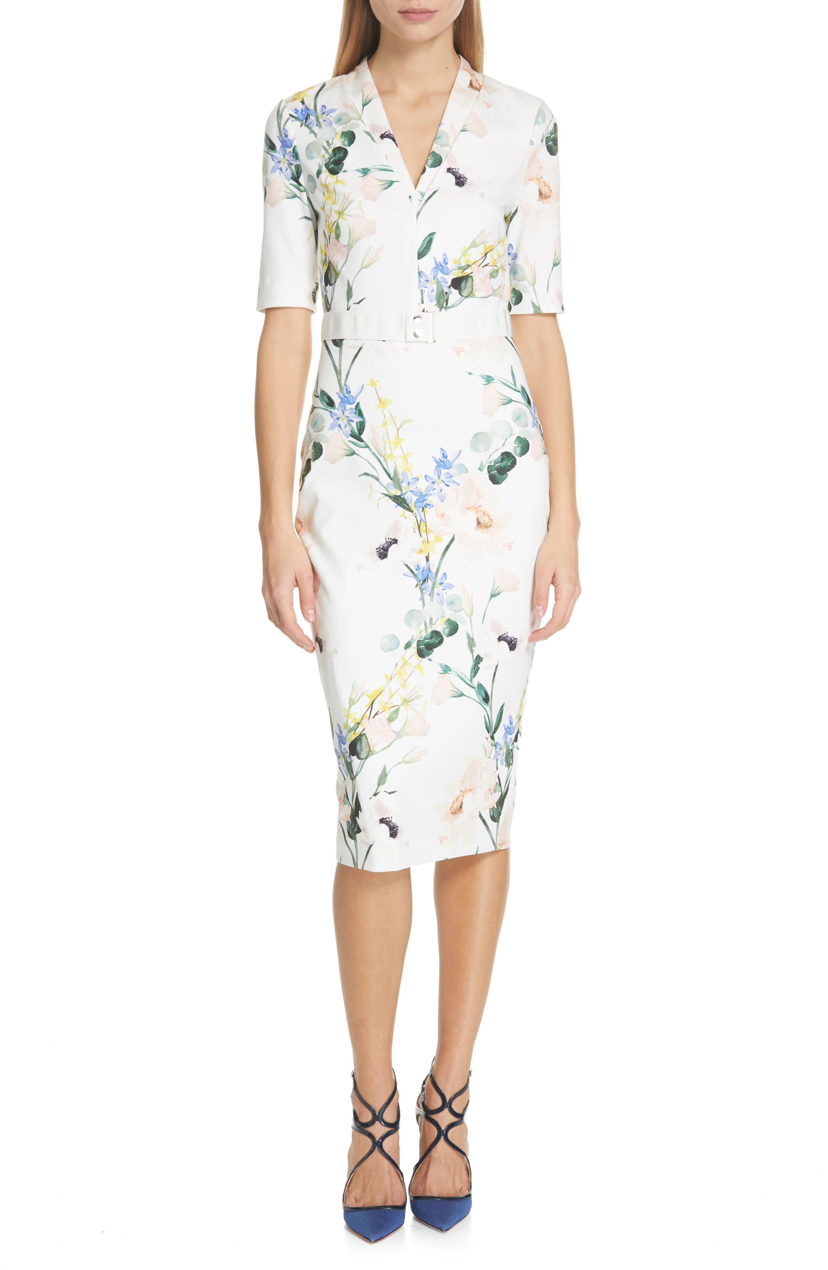 Ted Baker London Lylli Elegance Pencil Dress, White