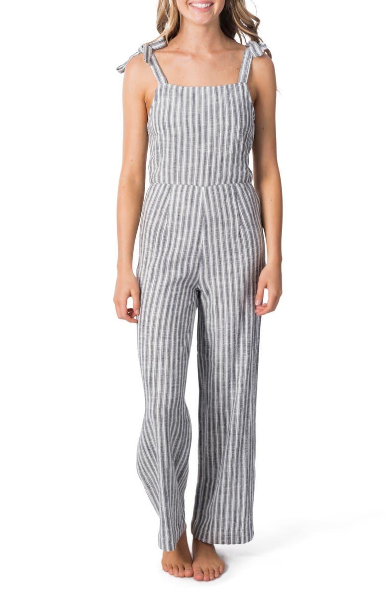 RIP CURL Lakeshore Sleeveless Stripe Jumpsuit, Main, color, BLACK/ WHITE