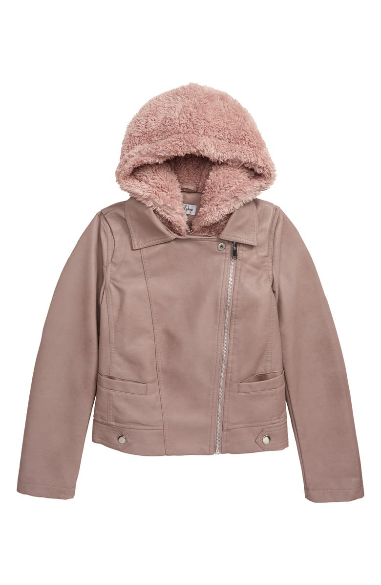 COFFEE SHOP Faux Leather Moto Jacket with Hooded Bib, Main, color, FADED MAUVE