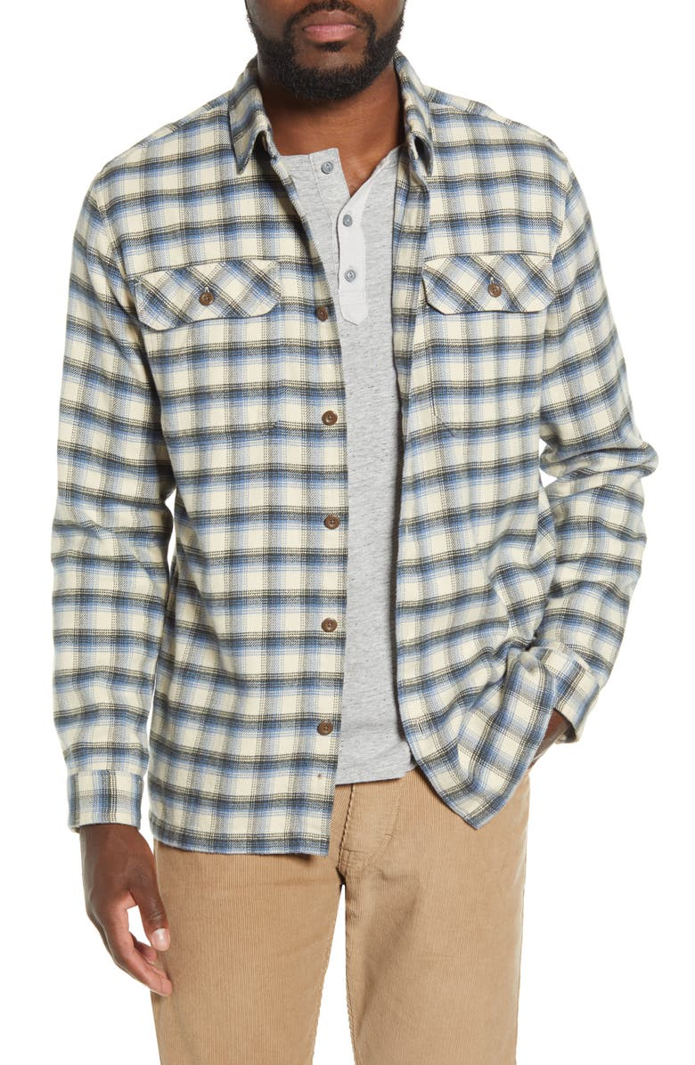PATAGONIA Fjord Regular Fit Organic Cotton Flannel Shirt, Main, color, CASTROVILLE OYSTER WHITE