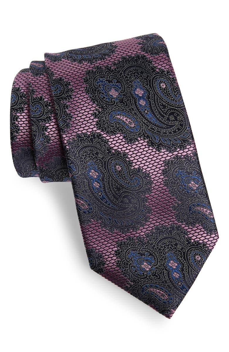 ERMENEGILDO ZEGNA Paisley Silk X-Long Tie, Main, color, 668