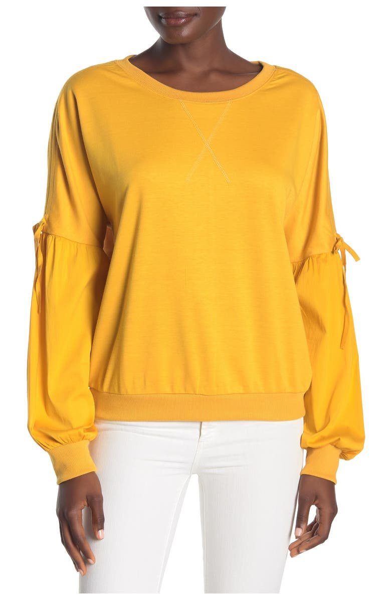 FORGOTTEN GRACE Poplin Sleeve Sweatshirt, Main, color, MUSTARD