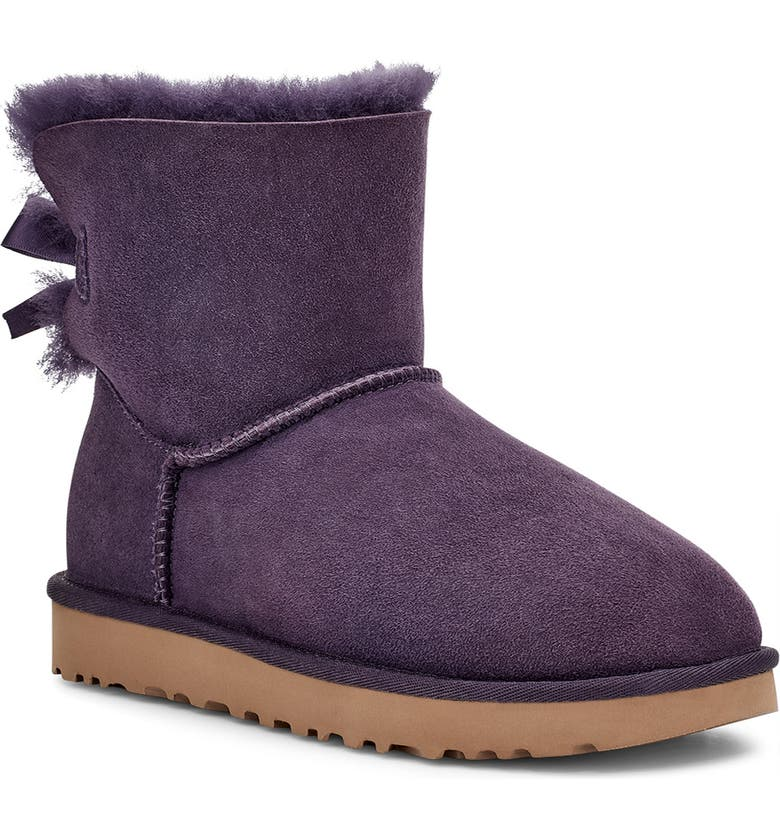 UGG<SUP>®</SUP> Mini Bailey Bow II Genuine Shearling Bootie, Main, color, NIGHTSHADE