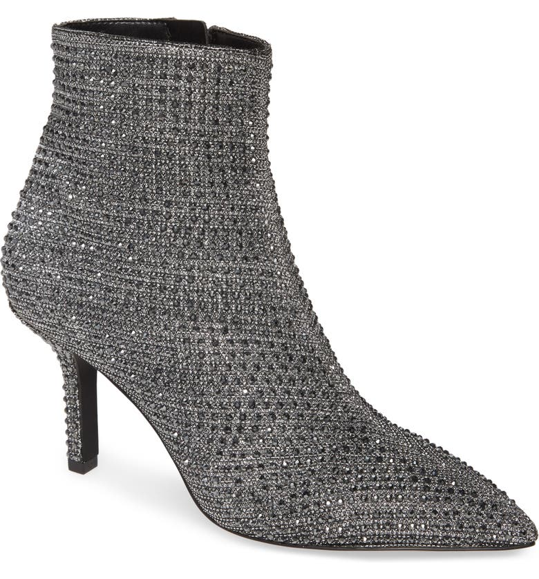 MICHAEL MICHAEL KORS Katerina Embellished Glitter Bootie, Main, color, BLACK SILVER GLITTER