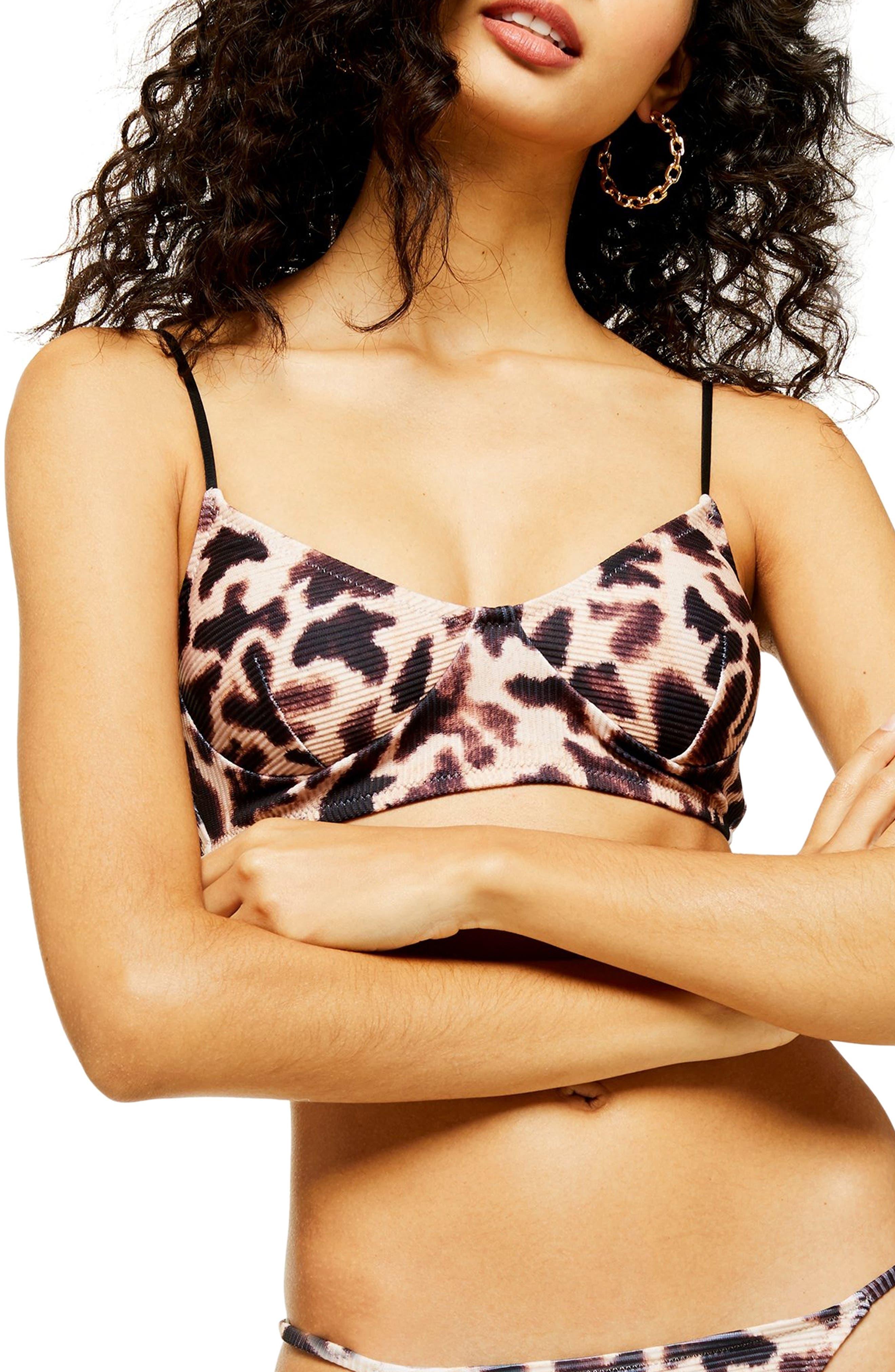 Topshop Giraffe Print Ribbed Longline Bikini Top, US (fits like 0) - Beige