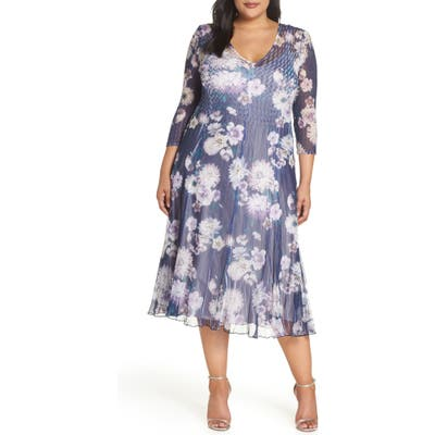 Plus Size Komarov Chiffon Midi Dress, Blue
