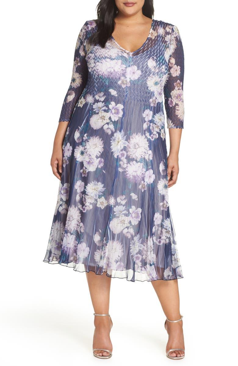 KOMAROV Chiffon Midi Dress, Main, color, INDIGO NIGHT