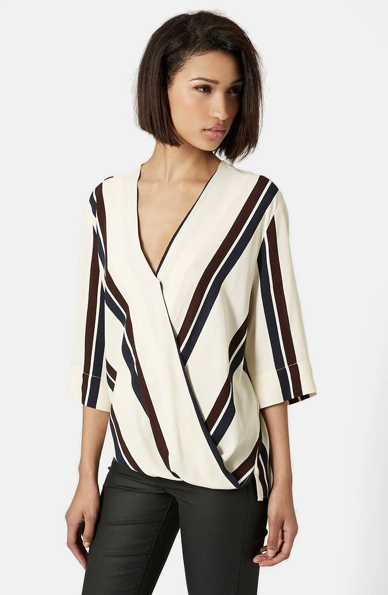 TOPSHOP Drape Front Blouse, Main, color, 900