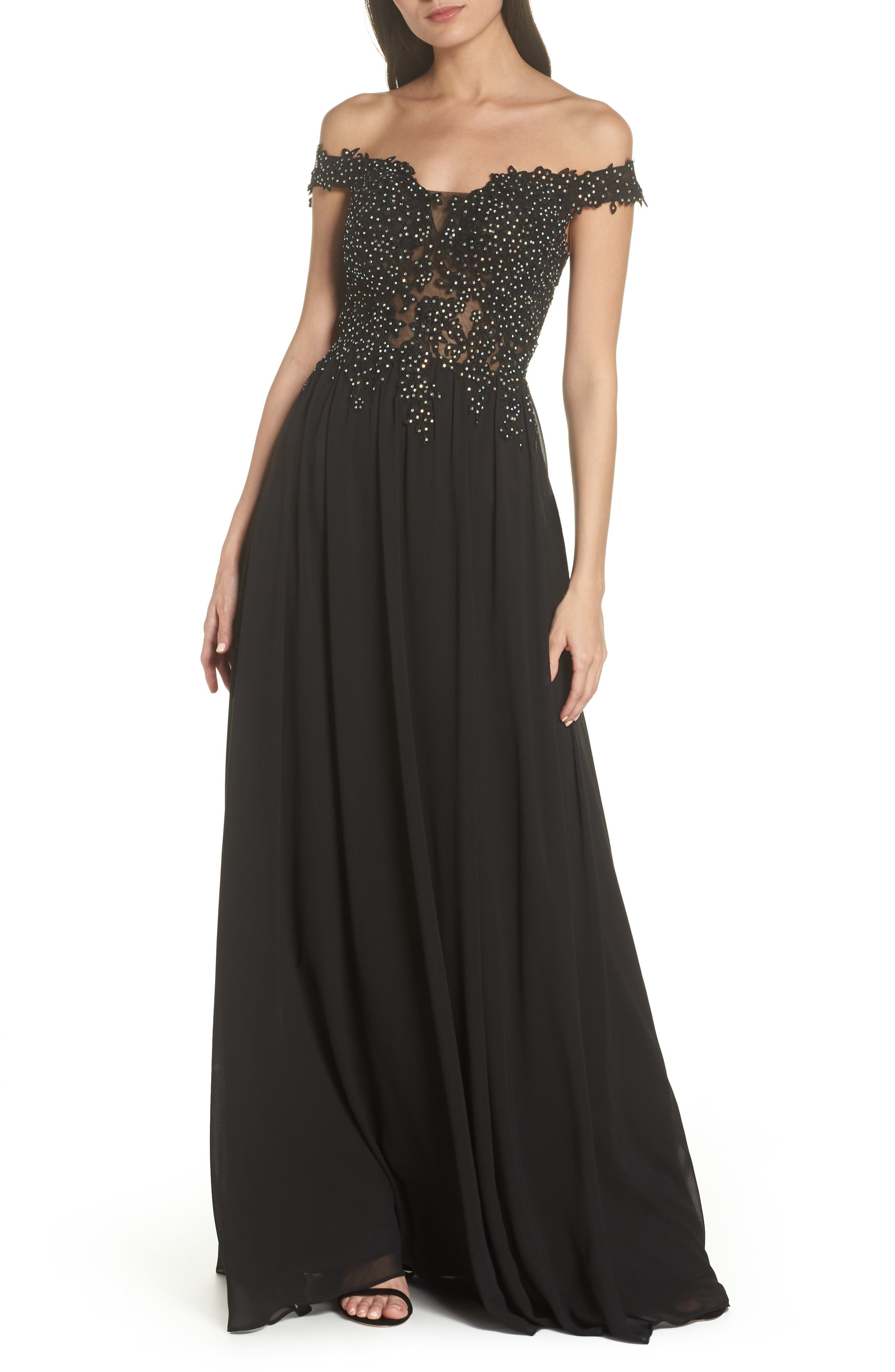 Blondie Nites Off The Shoulder Illusion Back Gown, Black