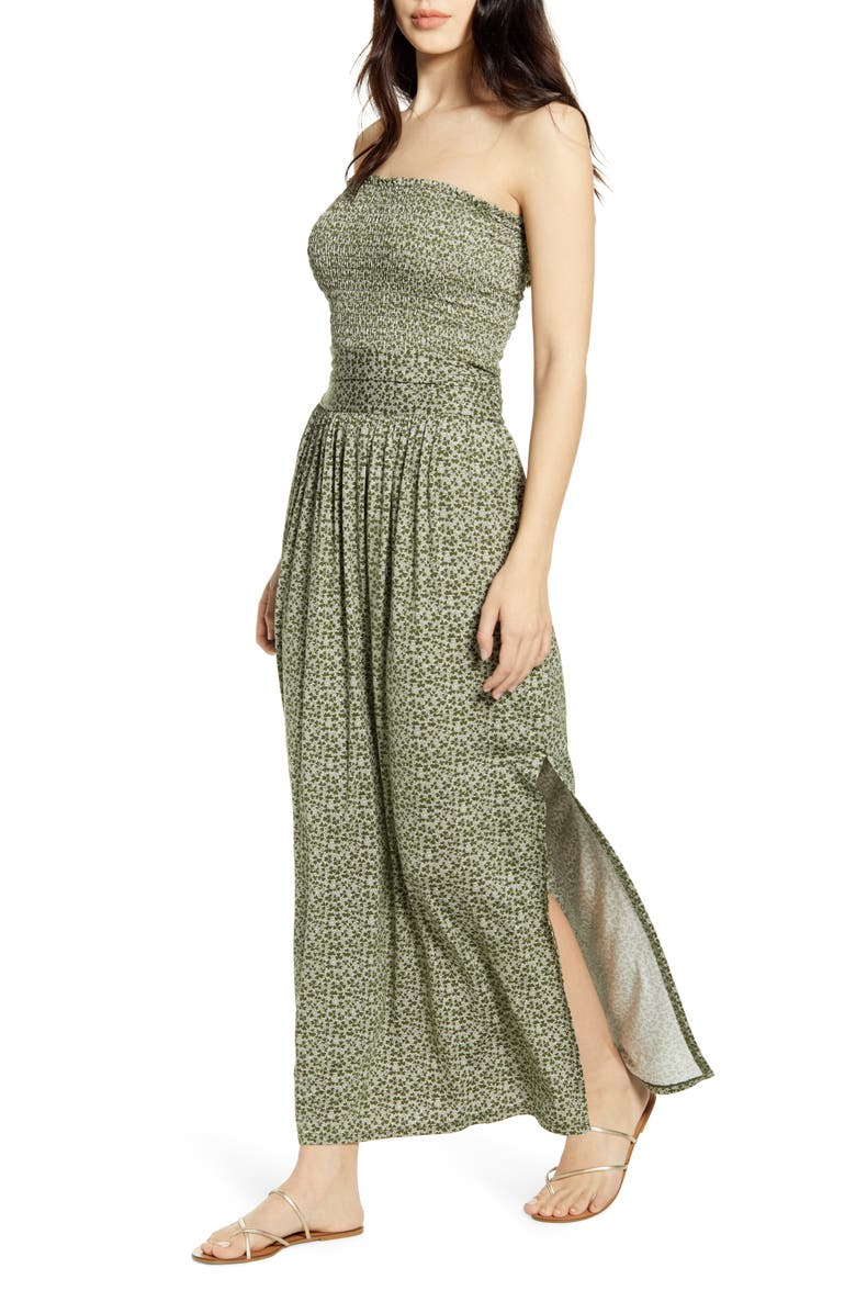 BP. Strapless Smocked Maxi Dress, Main, color, GREEN CYPRESS CLOVER