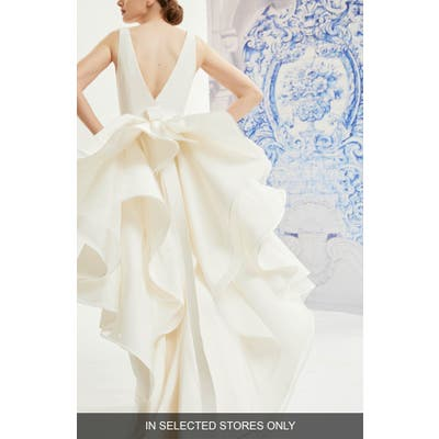 Carolina Herrera Idelle V-Neck Organza Back Silk Wedding Dress