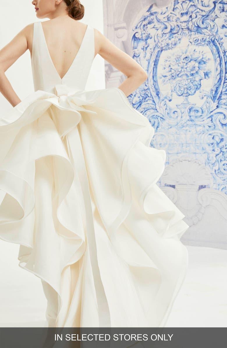 CAROLINA HERRERA Idelle V-Neck Organza Back Silk Wedding Dress, Main, color, IVORY
