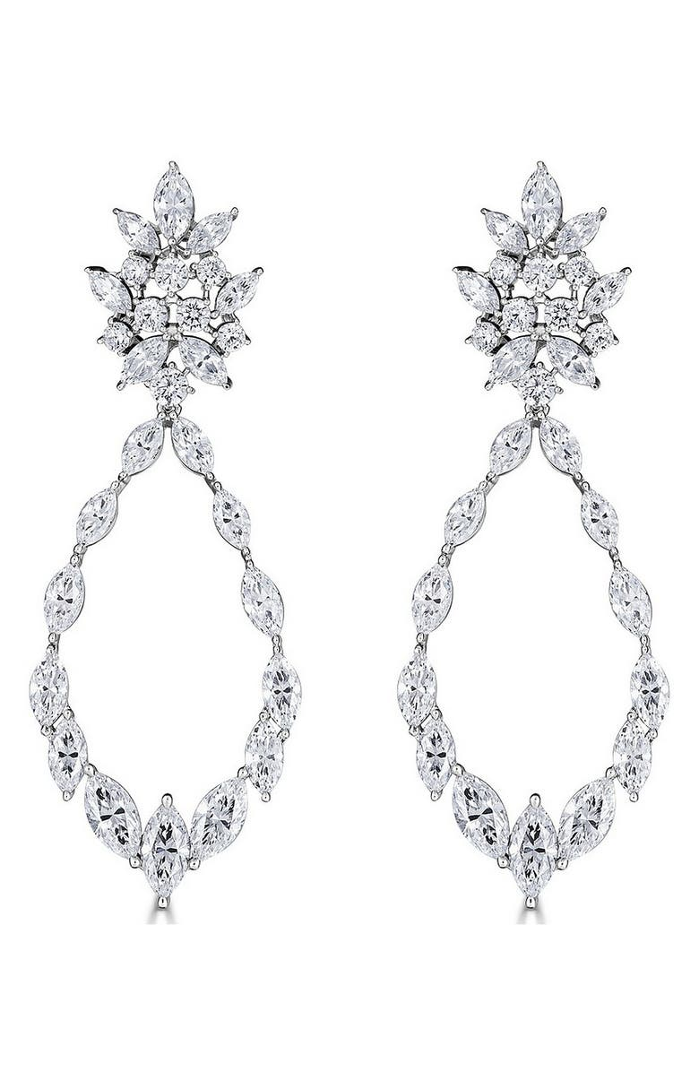 THOMAS LAINE Marquise Statement Earrings, Main, color, CLEAR/ SILVER