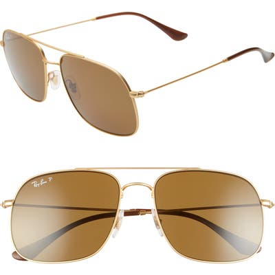 Ray-Ban 5m Polarized Navigator Sunglasses - Rubber Gold
