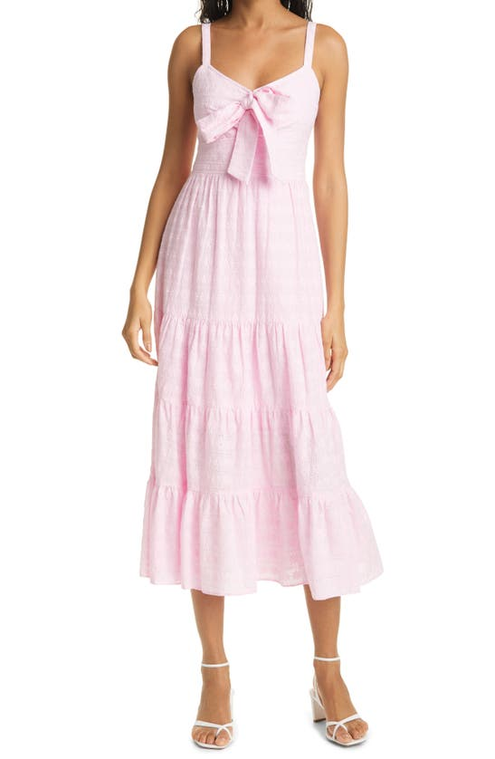 Likely STASIA FLORAL EYELET FRONT TIE TIERED MIDI DRESS