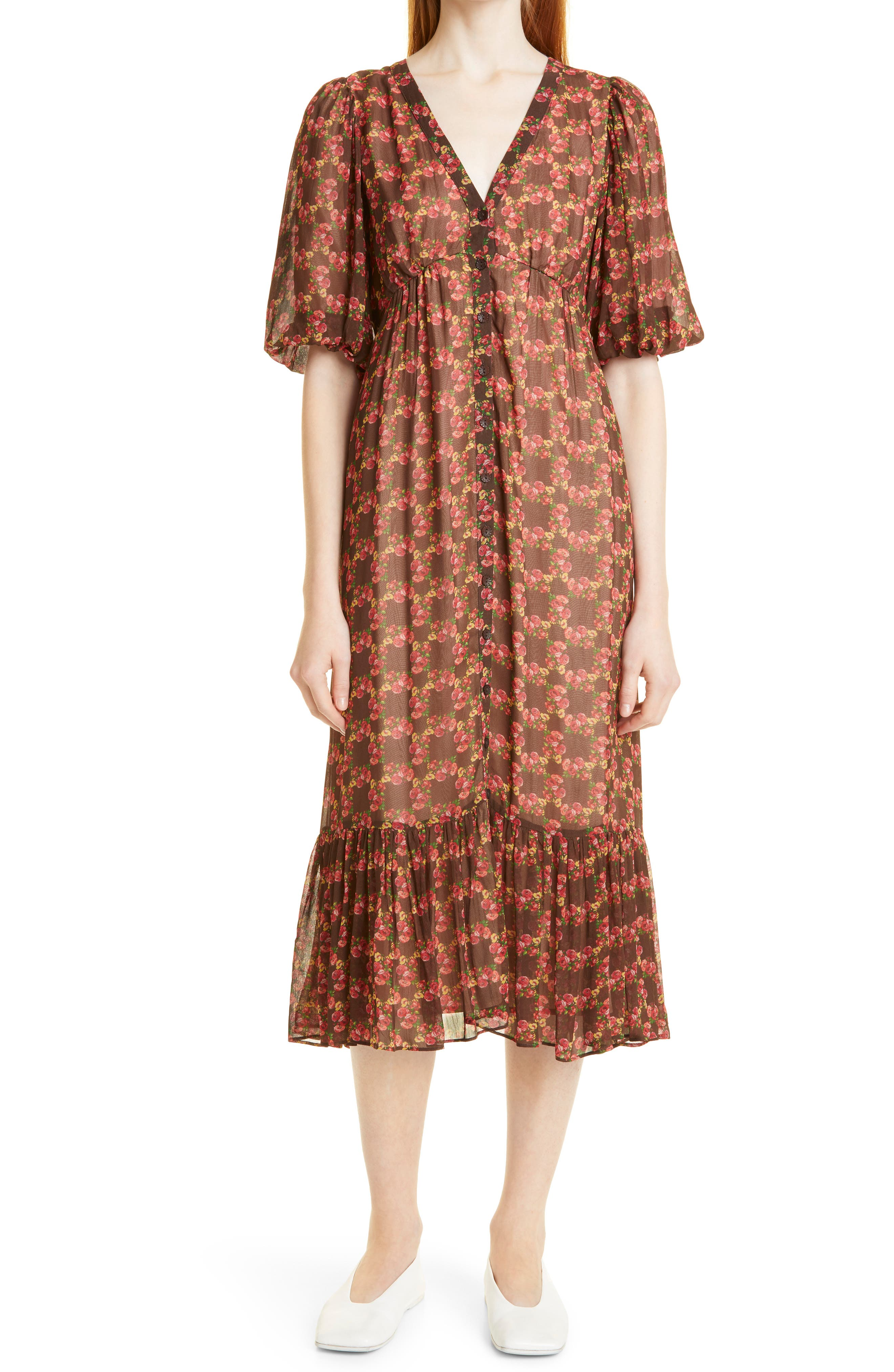 Flowes Floral Georgette Midi Dress