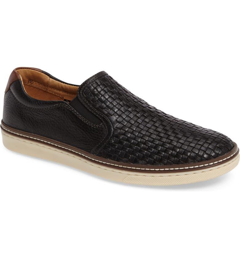 JOHNSTON & MURPHY McGuffey Woven Slip-On Sneaker, Main, color, BLACK LEATHER